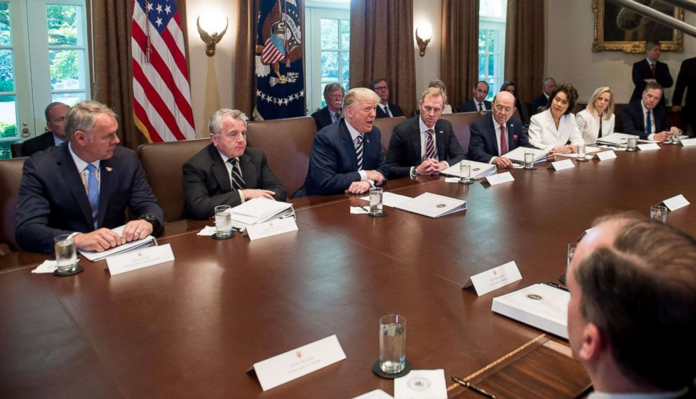 PHOTO: President Donald Trump speaks during a Cabinet Meeting in the Cabinet Room of the White House, May 9, 2018. DHS Secretary Kirstjen M. Nielsen is fourth from Trump on the right.