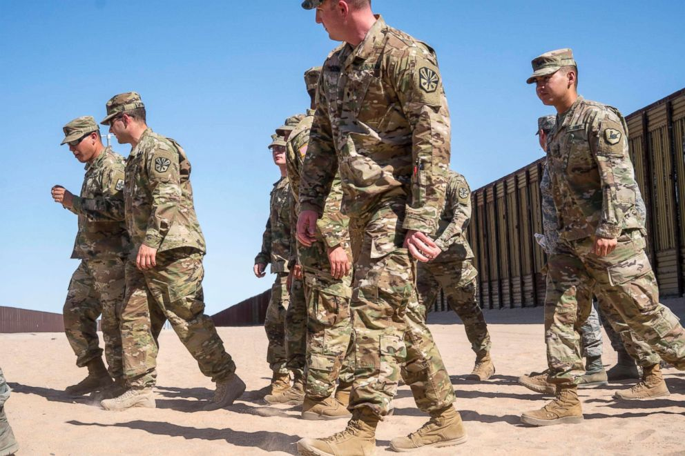 PHOTO: Members of the National Guard after they were deployed to the U.S. / Mexico border in Arizona, April 18, 2018.