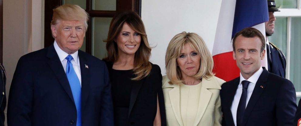 PHOTO: President Donald Trump and first lady Melania Trump greet French President Emmanuel Macron and his wife Brigitte Macron at the White House, April 23, 2018.