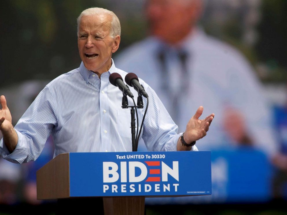 PHOTO: Presidential candidate and former Vice President Joe Biden speaks during a campaign stop in Philadelphia, Pa., May 18, 2019.