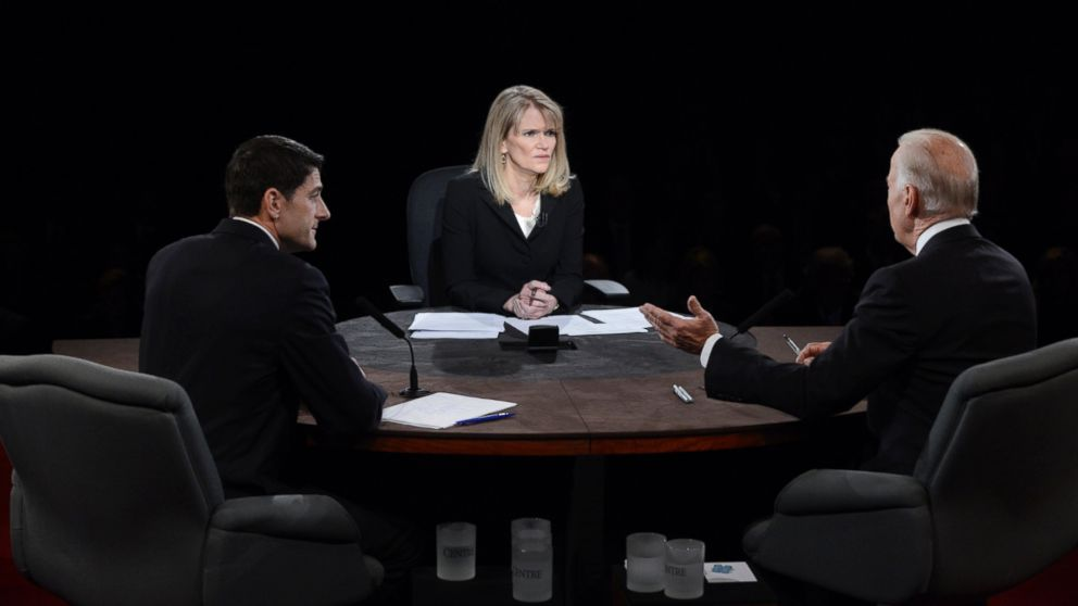 Moderator Martha Raddatz watches as Vice President Joe Biden and Republican vice presidential nominee Rep. Paul Ryan participate in the vice presidential debate at Centre College, Oct. 11, 2012, in Danville, Kentucky.
