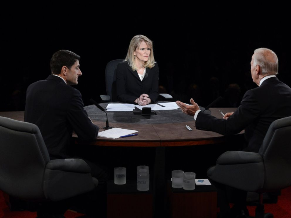 PHOTO: Moderator Martha Raddatz watches as Vice President Joe Biden and Republican vice presidential nominee Rep. Paul Ryan participate in the vice presidential debate at Centre College, Oct. 11, 2012, in Danville, Kentucky.