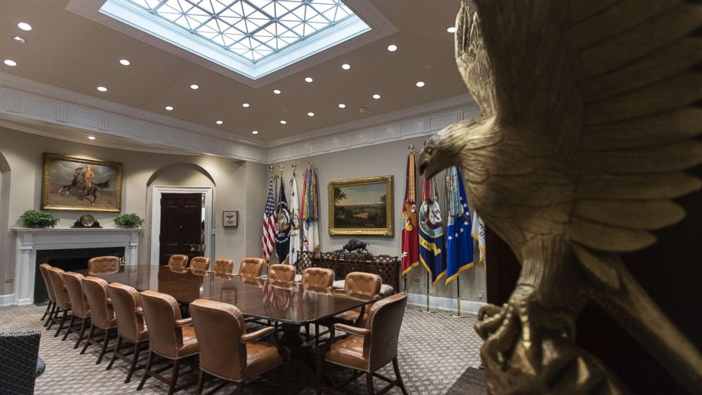 The newly renovated Roosevelt Room of the White House, Aug. 22, 2017.