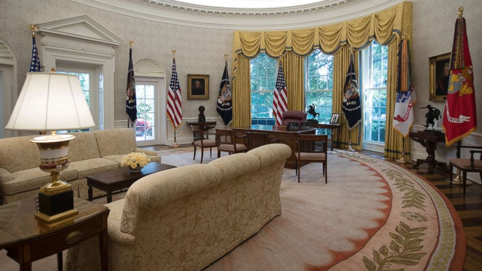 The newly renovated Oval Office of the White House, Aug. 22, 2017.
