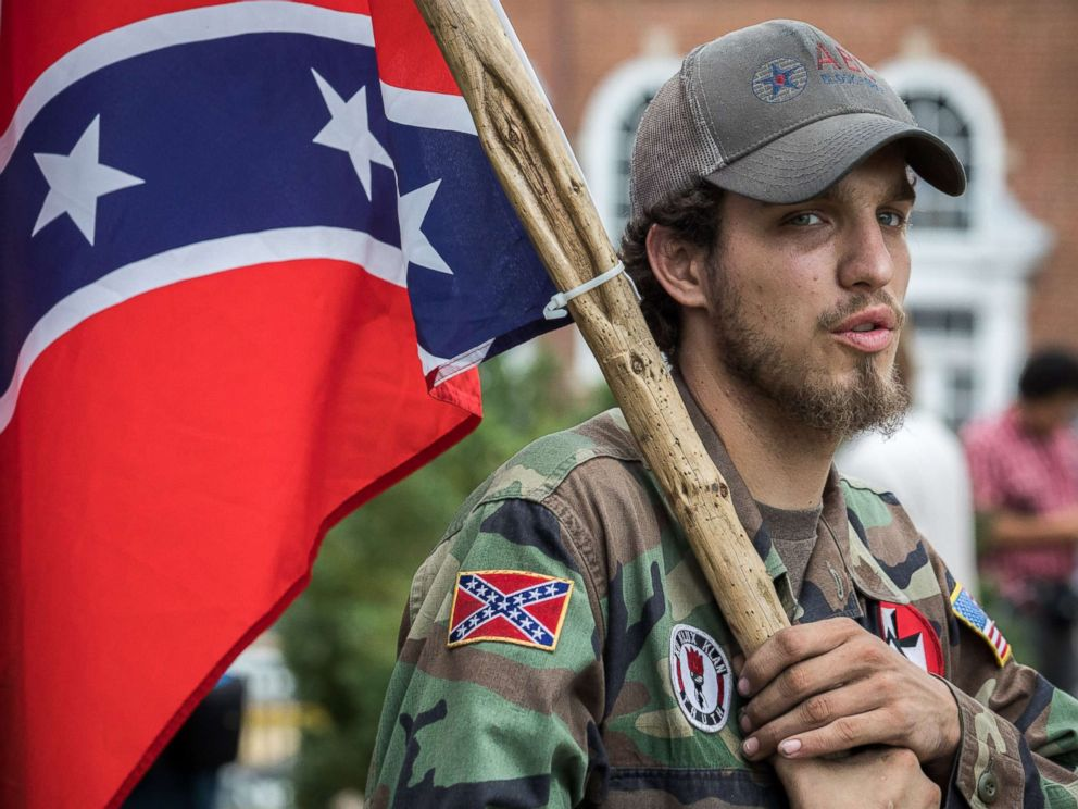 PHOTO: Ben, a 21-year-old KKK member is seen in Emancipation Park prior to the Unite the Right rally in Charlottesville,Virginia, Aug. 12, 2017.