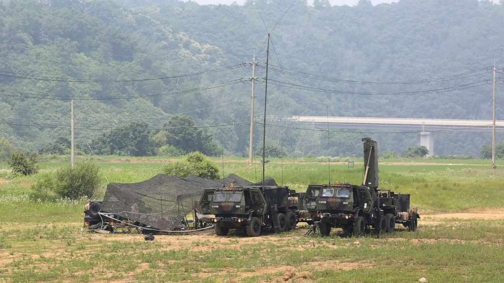 FILE - U.S. Army mobile equipment sits in a field in Yeoncheon, South Korea, near the border with North Korea, Wednesday, June 17, 2020. The State Department says the U.S. and South Korea have reached an agreement in principle on a new arrangement fo