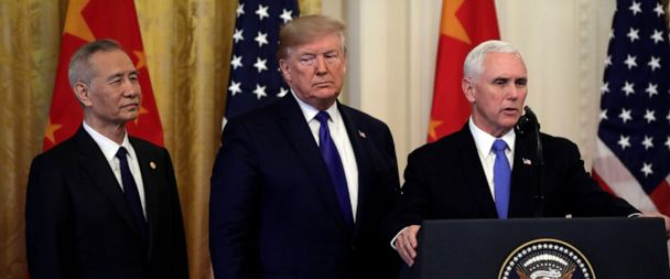 """Image result for Chinese Vice Premier Liu He listens as U.S. President Donald Trump speaks during a signing ceremony for """"phase one"""" of the U.S.-China trade agreement in the East Room of the White House in Washington, U.S., January 15, 2020."""