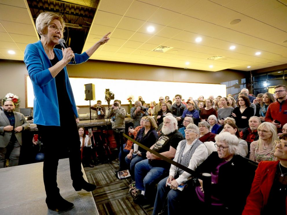 Sen. Elizabeth Warren, D-Mass, speaks during an organizing event at McCoys Bar Patio and Grill in Council Bluffs, Iowa, Friday, Jan. 4, 2019.