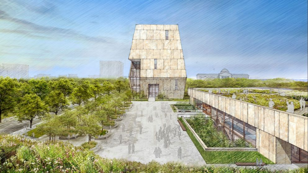 FILE - This illustration released on May 3, 2017 by the Obama Foundation shows plans for the proposed Obama Presidential Center with a museum, rear, in Jackson Park on Chicago's South Side. This view looks from the south with a public plaza that extends into the landscape. Odds still favor the eventual construction of Barack Obama's $500 million presidential museum and library in a park along Chicago's lakeshore. A judge hears arguments Thursday, Feb. 14, 2019, on a city motion to toss a parks-advocacy group's lawsuit that argues the project violates laws barring development in lakeside parks. (Obama Foundation via AP, File)