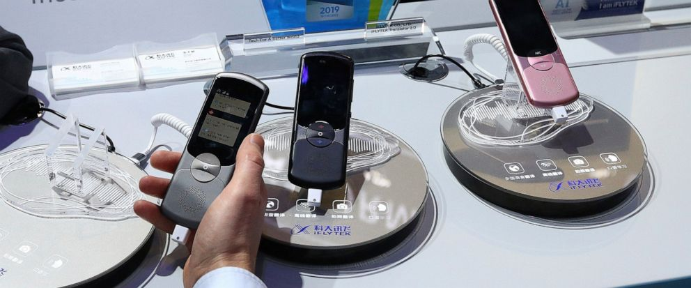 FILE - This Thursday, Jan. 10, 2019, file photo, shows the iFlytek Easy Trans 2.0 Portable Smart Electronic Voice Language Translator device, a 2-way electronic pocket voice translator for a variety of languages, on display at CES International in La