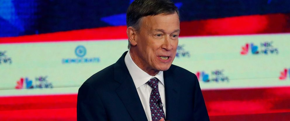 FILE - In this June 27, 2019 file photo, Democratic presidential candidate and former Colorado Gov. John Hickenlooper speaks during the Democratic primary debate hosted by NBC News at the Adrienne Arsht Center for the Performing Arts, in Miami. Hicke