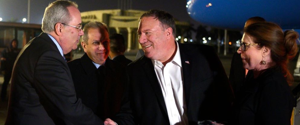 U.S. Secretary of State Mike Pompeo, and his wife Susan, right, are greeted by Assistant Foreign Minister For North and South American Affairs, Reda Habeeb Ibrahim Zaki , second from left, and Charge dAffaires for the US Embassy in Egypt, Tom Goldbe