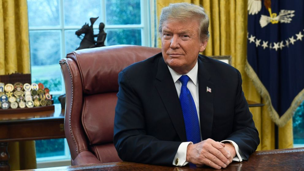 """FILE - In this Friday, Feb. 22, 2019, file photo, President Donald Trump listens during his meeting with Chinese Vice Premier Liu He in the Oval Office of the White House in Washington. Trump said Sunday he will extend a deadline to escalate tariffs on Chinese imports, citing """"substantial progress"""" in weekend talks between the two countries. (AP Photo/Susan Walsh, File)"""