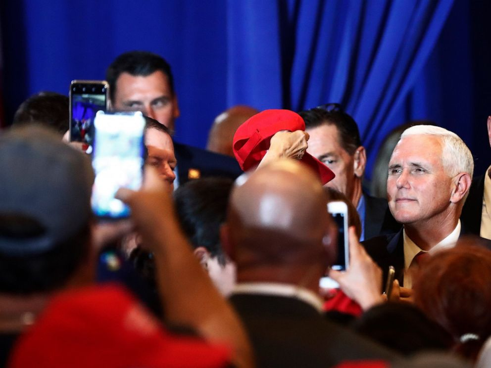 Vice President Mike Pence speaks to constituents after speaking during a rally on Tuesday, June 25, 2019 in Miami.
