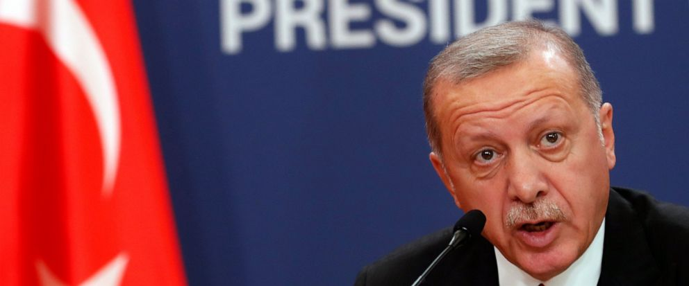Turkeys President Recep Tayyip Erdogan speaks during a joint news conference after talks with his Serbian counterpart Aleksandar Vucic in Belgrade, Serbia, Monday, Oct. 7, 2019. Erdogan is on a two-day official visit to Serbia. (AP Photo/Darko Vojinovic)