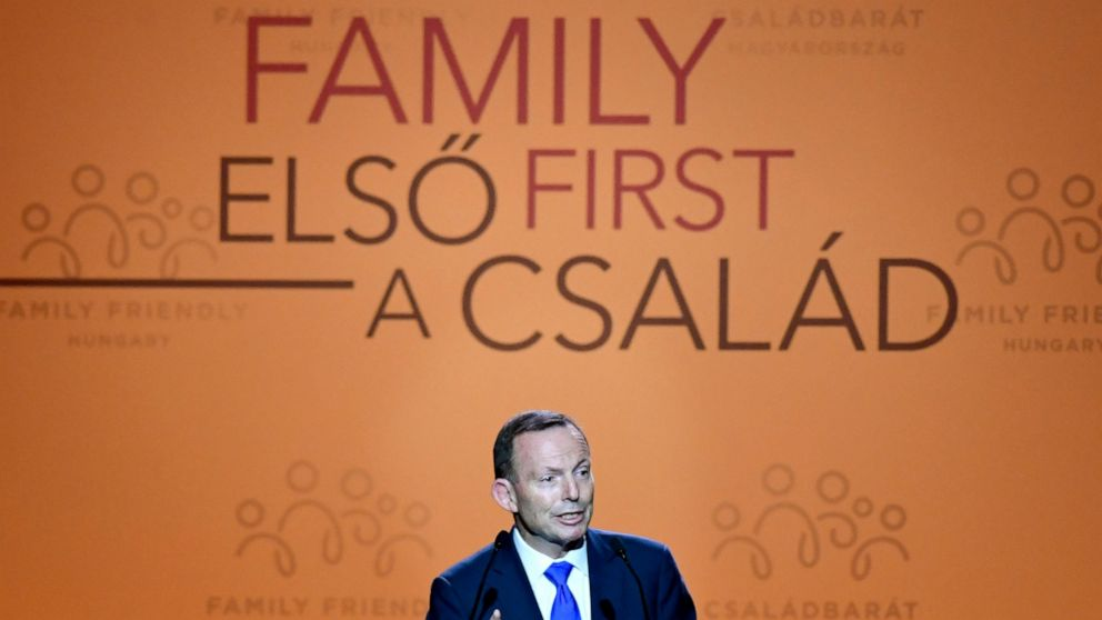Former Prime Minister of Australia Tony Abbott delivers a speech during the 3rd Budapest Demographic Summit in Varkert Bazar conference center in Budapest, Hungary, Thursday, Sept. 5, 2019. The Hungarian capital city, which hosts the international su