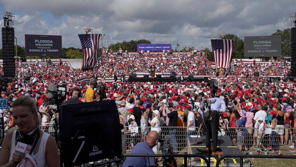 The Latest: Trump complains about Minnesota rally limits