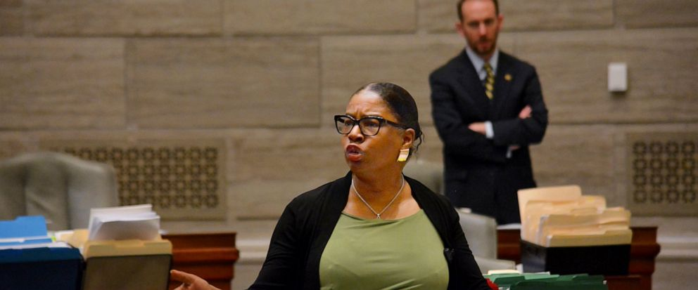 During debate in the Missouri Senate in Jefferson City Wednesday, May 15, 2019, Freshman senator, Karla May, D-St. Louis, makes a point regarding Missouris proposed new abortion law. Opponents of the bill have begun efforts to block it in that legis