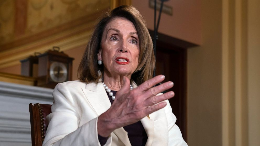 Speaker of the House Nancy Pelosi, D-Calif., speaks during an interview with The Associated Press in her office at the Capitol in Washington, Wednesday, April 10, 2019. (AP Photo/J. Scott Applewhite)