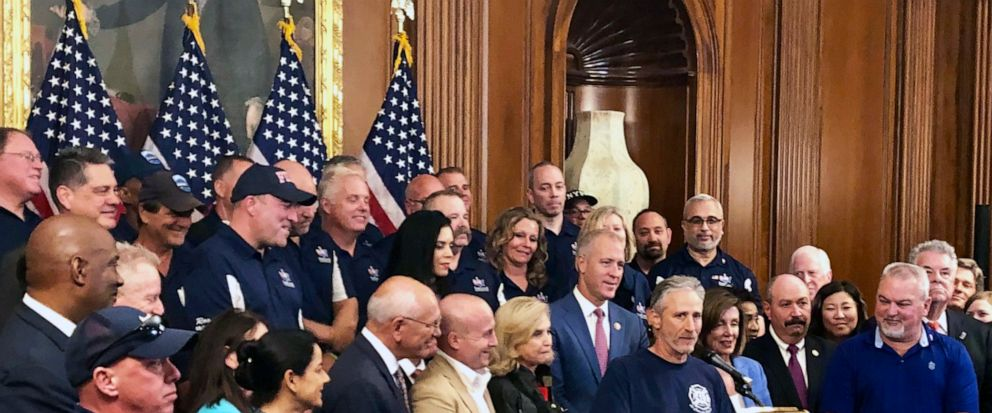 Entertainer and activist Jon Stewart, speaks at a news conference on behalf of 9/11 victims and families, Friday, July 12, 2019, at the Capitol in Washington. The House is expected to approve a bill Friday ensuring that a victims compensation fund f