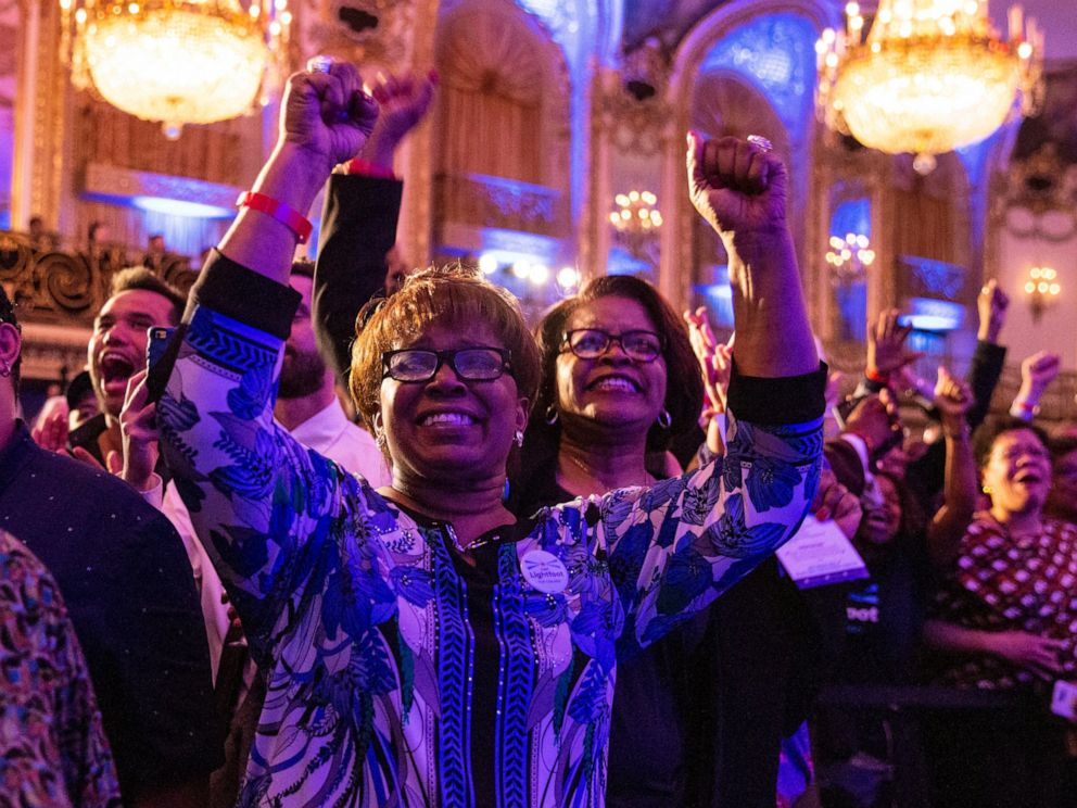 Supporters at mayoral candidate Lori Lightfoots election night rally at the Hilton Chicago cheer as poll numbers trickle in, showing Lightfoot in the lead against Toni Preckwinkle in the Chicago mayoral election, Tuesday, April 2, 2019. (Ashlee Rezi
