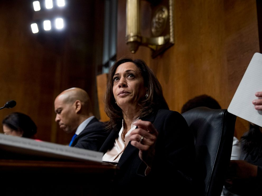 Democratic presidential candidate Sen. Kamala Harris, D-Calif., listens as Attorney General William Barr testifies during a Senate Judiciary Committee hearing on Capitol Hill in Washington, Wednesday, May 1, 2019.