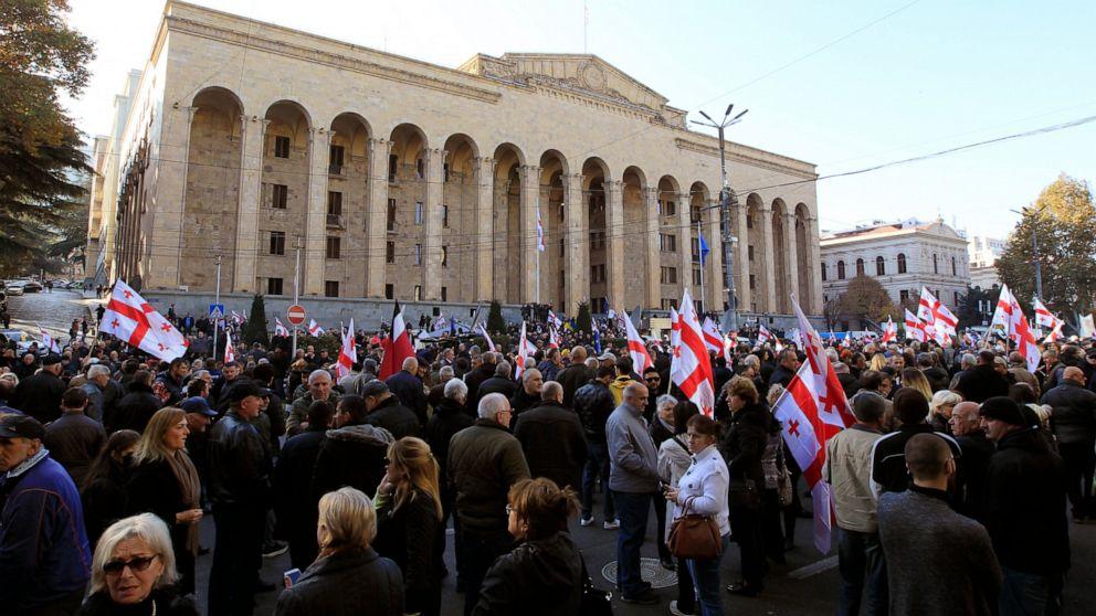 Tausende protestieren Wahlrechtsreform scheitern in Georgien