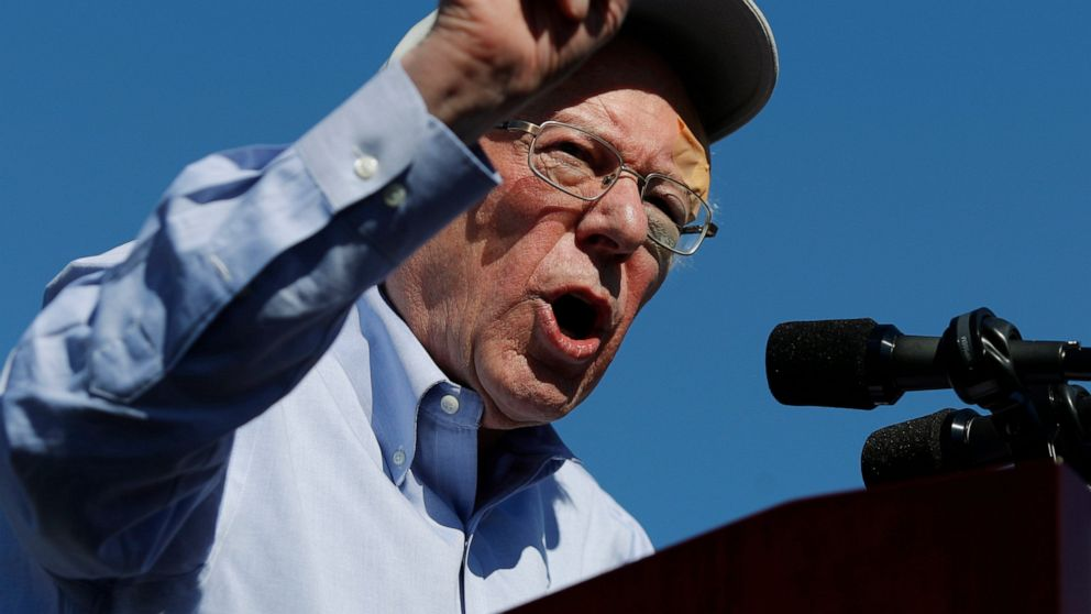 FILE - In this March 16, 2019, photo, Democratic presidential candidate Sen. Bernie Sanders, I-Vt., speaks at a rally in Henderson, Nev. One of the big questions facing Sanders is whether he could translate his upstart success from 2016 into front-runner status in 2020. So far, the answer is yes. (AP Photo/John Locher)