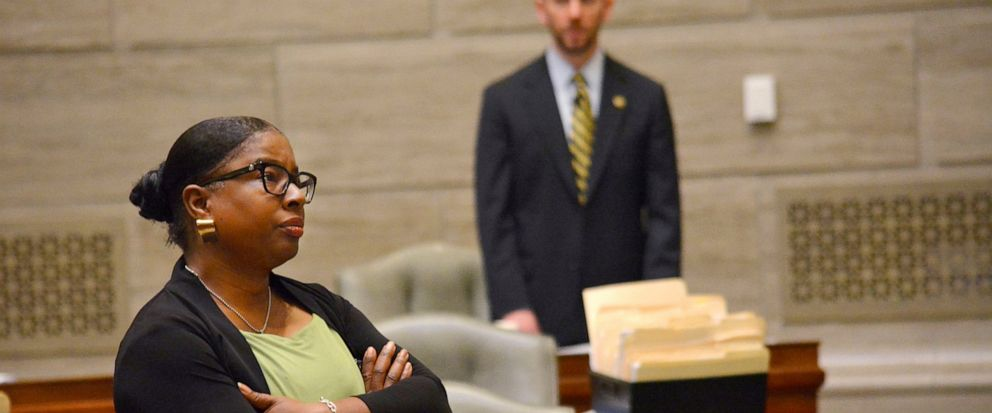 During debate in the Missouri Senate in Jefferson City Wednesday, May 15, 2019, Freshman senator, Karla May, D-St. Louis, listens to opposing arguments regarding Missouris proposed new abortion law. Opponents of the bill have begun efforts to block