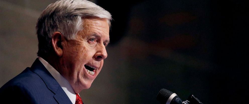 FILE - In this Jan. 16, 2019, file photo, Missouri Gov. Mike Parson delivers his State of the State address in Jefferson City, Mo. Parson on Wednesday, May 15, called on state senators to take action on a bill to ban abortions at eight weeks of pregn