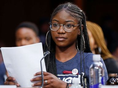 PHOTO: Aalayah Eastmond, a student at Marjory Stoneman Douglas High School, speaks before the Senate Judiciary Committee during the confirmation hearing for Supreme Court nominee Brett Kavanaugh, in Washington, Sept. 7, 2018.
