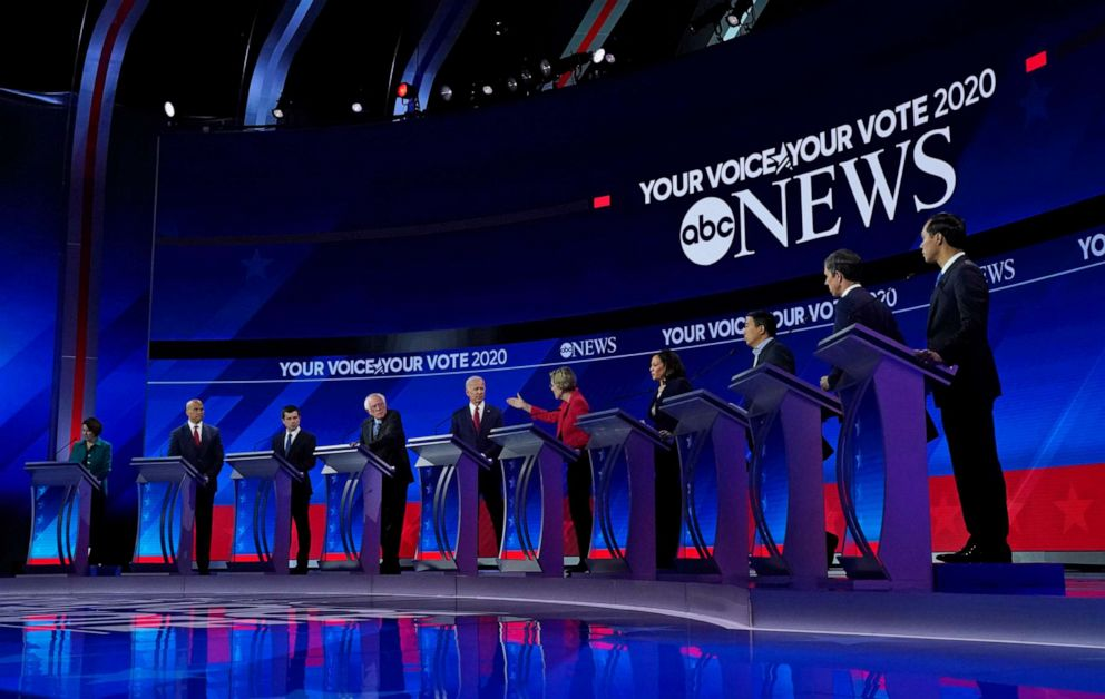 PHOTO: Democratic presidential hopefuls stand onstage during the third Democratic primary debate of the 2020 presidential campaign season hosted by ABC News in partnership with Univision at Texas Southern University in Houston, Tx on Sept. 12, 2019.