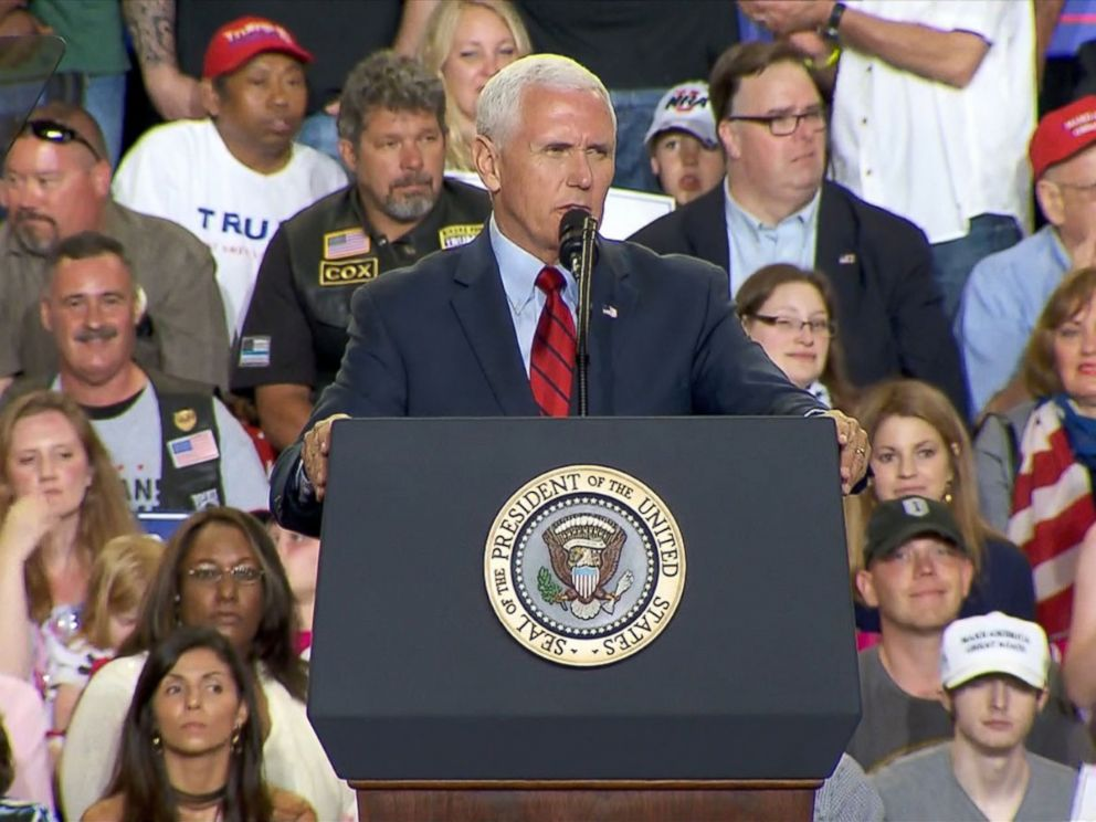 PHOTO: Vice President Mike Pence speaks at a campaign rally in Harrisburg, Pennsylvania on April 29, 2017.