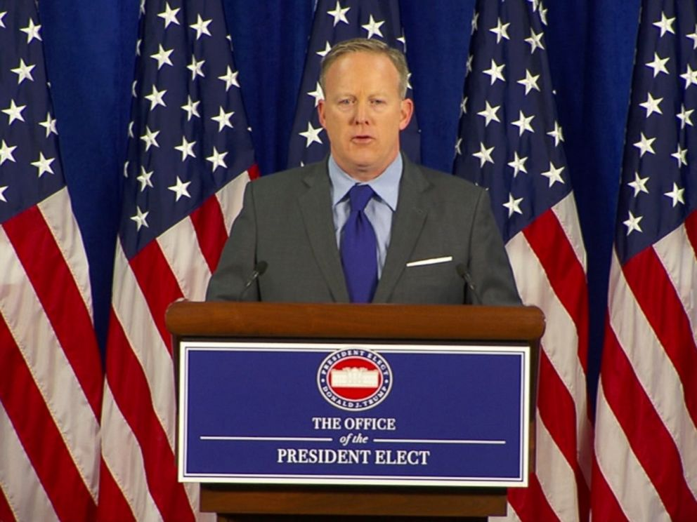 PHOTO: Sean Spicer, Press Secretary to U.S. President-elect Donald Trump speaks at a press conference, Jan. 19, 2017.