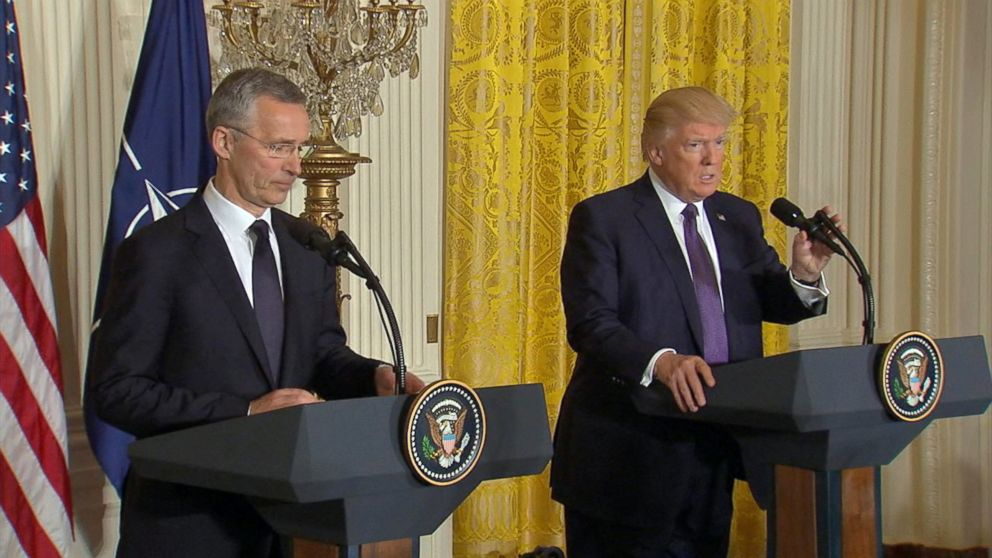 President Donald Trump and NATO Secretary-General Jens Stoltenberg speak in a press conference in Washington, April 12, 2017.