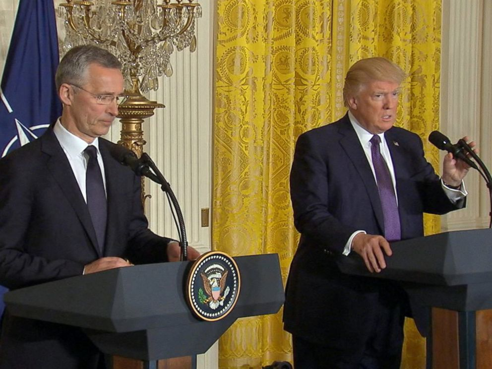 PHOTO: President Donald Trump and NATO Secretary-General Jens Stoltenberg speak in a press conference in Washington, April 12, 2017.
