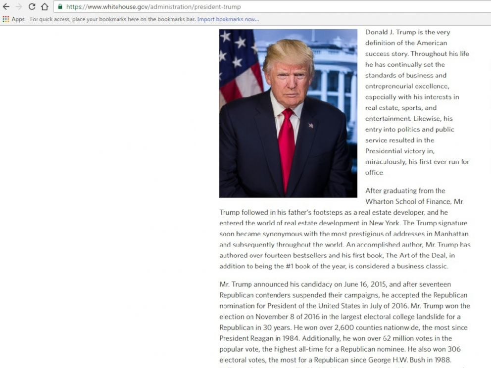 PHOTO: The WhiteHouse.gov biography of President Donald Trump contained a factual error that was corrected on the day of his inauguration.