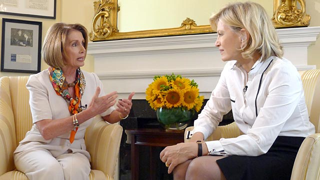 PHOTO: Diane Sawyer interviews Nancy Pelosi.