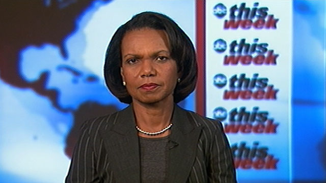 "PHOTO: Former Secretary of State Condoleezza Rice is interviewed on ""This Week."""