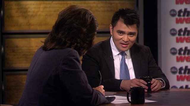 "PHOTO: Jose Antonio Vargas tells his story as an illegal immigrant on ""This Week with Christiane Amanpour"""