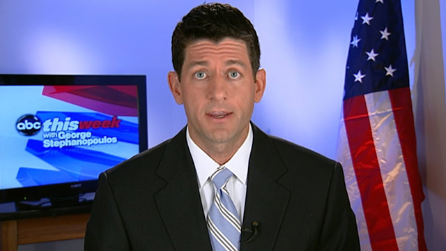 """PHOTO: Rep. Paul Ryan (R-WI), chair of the House budget committee appears on """"This Week."""""""