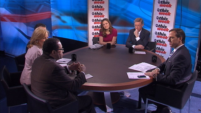 PHOTO: ABC News George Will, Yahoo News Washington Bureau Chief David Chalian, Georgetown University Professor Michael Eric Dyson, Thomson Reuters Digital Editor Chrystia Freeland, and the Wall Street Journals Peggy Noonan