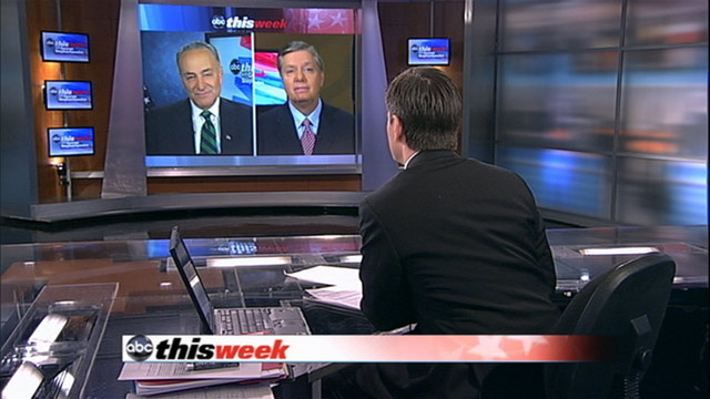 "PHOTO: Sen. Lindsey Graham (R-SC) and Sen. Charles Schumer (D-NY) on ""This Week"""