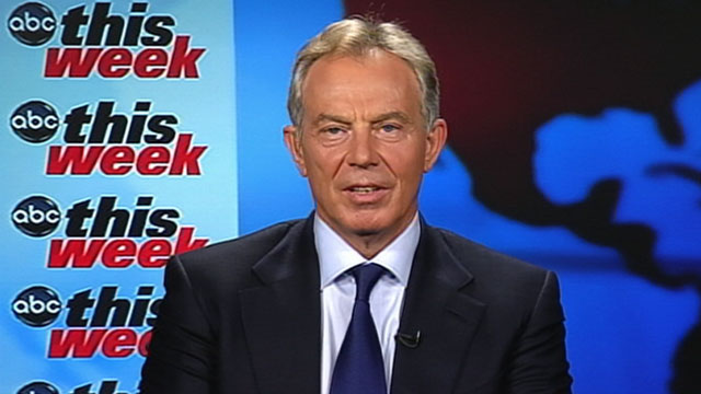 """PHOTO:Mideast envoy Tony Blair, the former British prime minister, is interviewed on """"This Week"""""""
