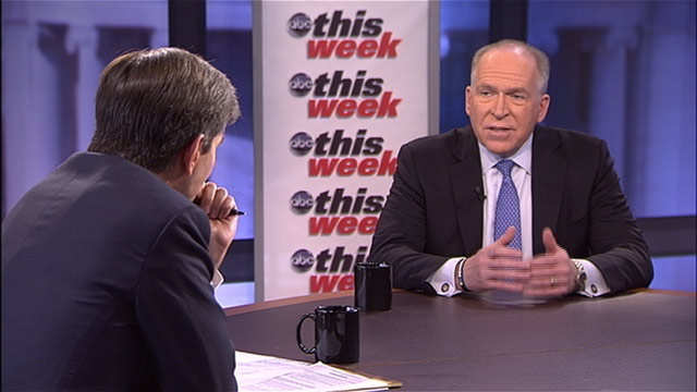 "PHOTO: White House Counterterrorism Adviser John Brennan spoke to George Stephanopoulos on ABCs ""This Week."""