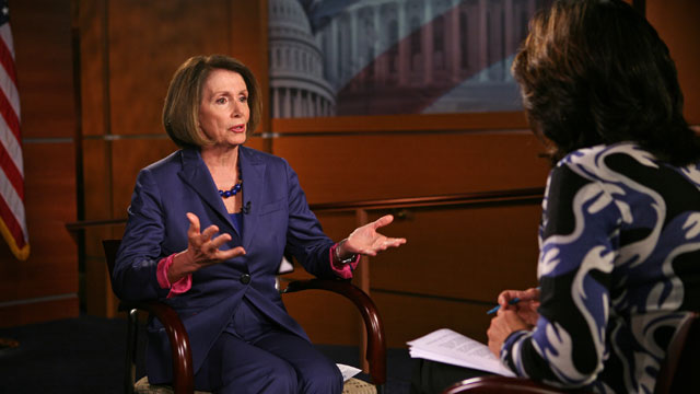 "PHOTO: Dem. Leader Nancy Pelosi sits with ""This Week"" anchor Christiane Amanpour."