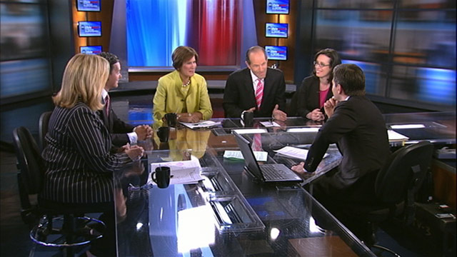 "PHOTO: Republican Strategist Mary Matalin, Former New York Governor and Host of ""Viewpoint with Eliot Spitzer"" on Current TV Eliot Spitzer, Democratic Strategist Hilary Rosen, Founder & Chair of the Faith and Freedom Coalition Ralph Reed, and Senior POLIT"