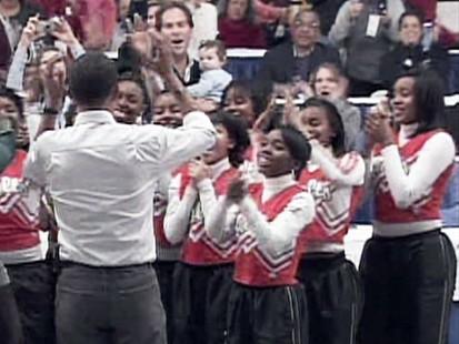 VIDEO: Cheerleaders perform for Barack Obama.