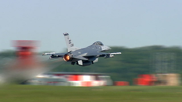PHOTO: A DC Air National Guard F-16 takes part in a training mission at Andrews Air Force Base.