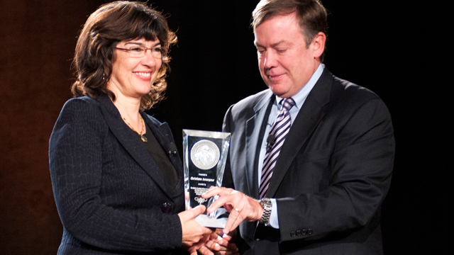 PHOTO: This Week anchor Christiane Amanpour accepted the 2011 Walter Cronkite Award for Excellence in Journalism at Arizona State University Thursday.